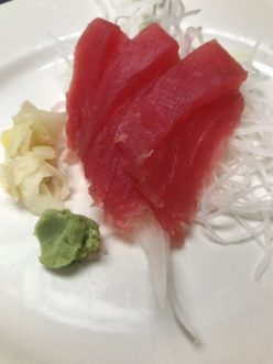 Tuna Sashimi. People with a compromised immune system should avoid eating raw seafood of any kind.