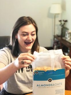 The delicious cereal that we eat has two different packaging: an internal bag composed of HDPE and an external box made of paperboard containing recycled material. Model: Rosey Davis, Clemson University alumna 2017.