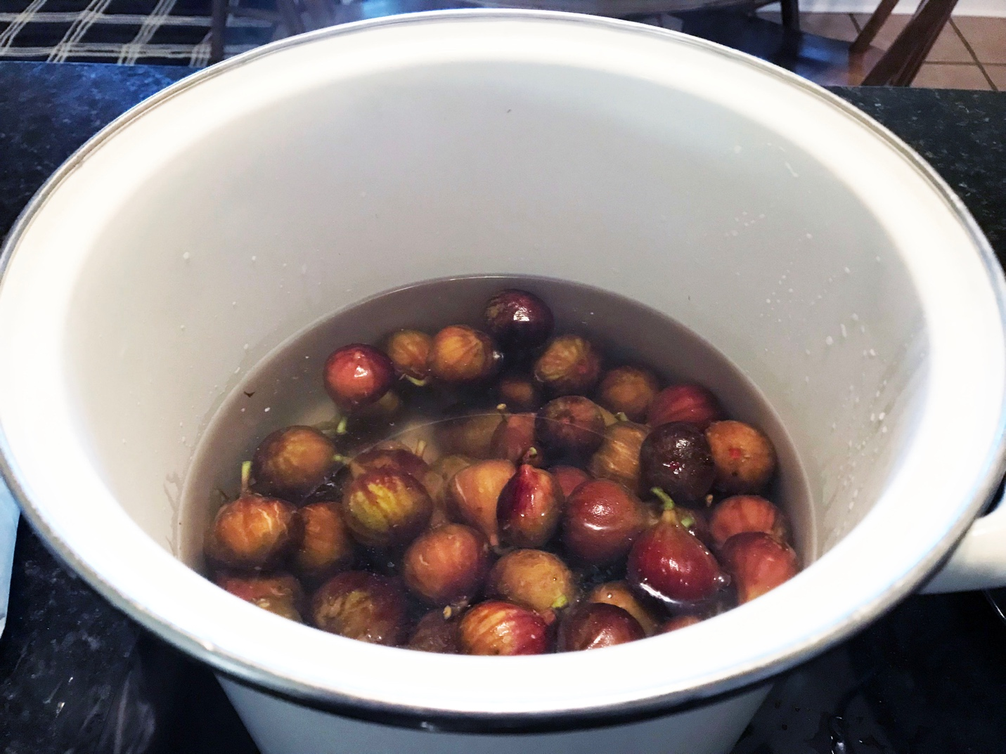 Figs covered with boiling water