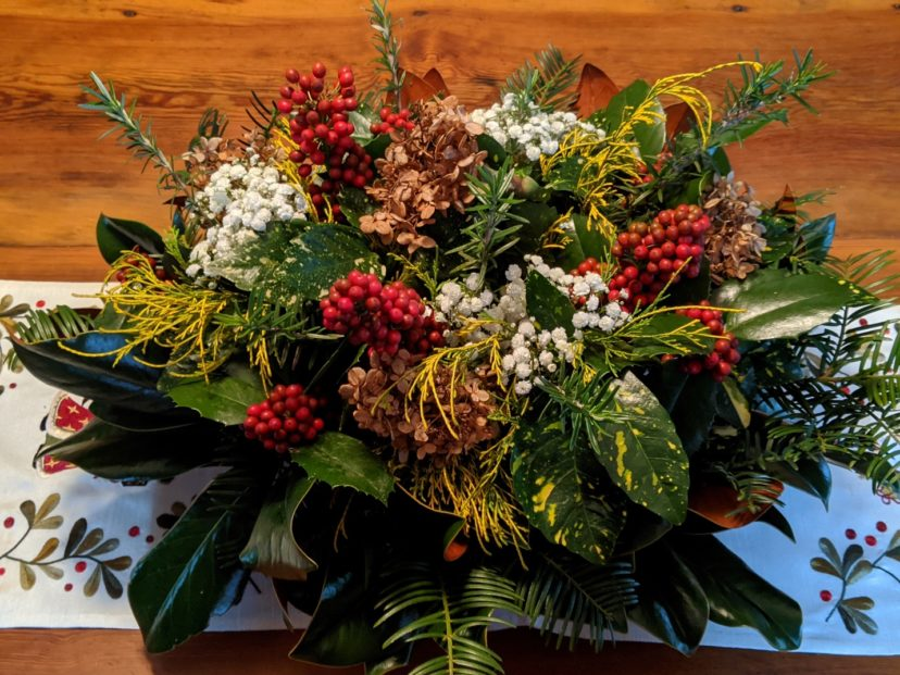 Make a holiday centerpiece for the dining room table with foliage, berries, and dried flowers from the garden. Barbara H. Smith, ©2020 HGIC, Clemson University