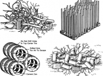 Figure 2: Examples of constructed habitat structures. Photo Credit: Alabama Cooperative Extension System